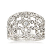C. 2000 Vintage Phillip Charriol .44 ct. t.w. Diamond Floral Ring in 18kt White Gold. Size 6.5