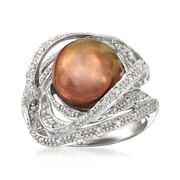 C. 1990 Vintage Brown Cultured Pearl and .25 ct. t.w. Diamond Swirl Ring in 14kt White Gold. Size 7.5
