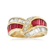C. 1980 Vintage 1.45 ct. t.w. Diamond and 1.44 ct. t.w. Ruby Crisscross Ring in 18kt Yellow Gold. Size 7