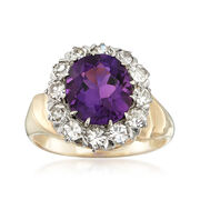 C. 1980 Vintage 2.20 Carat Amethyst and .75 ct. t.w. Diamond Ring in 14kt Yellow Gold. Size 5