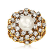 C. 1970 Vintage Cultured Pearl and 1.60 ct. t.w. Diamond Cluster Ring in 18kt Yellow Gold. Size 6