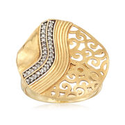 C. 1990 Vintage .25 ct. t.w. Diamond Scrollwork Ring in 18kt Yellow Gold. Size 8.5