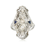 C. 1940 Vintage .47 ct. t.w. Diamond and .20 ct. t.w. Synthetic Sapphire Filigree Ring in 18kt White Gold. Size 8.5