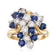 C. 1980 Vintage 1.95 ct. t.w. Diamond and 1.80 ct. t.w. Sapphire Cluster Ring in 18kt Yellow Gold. Size 6