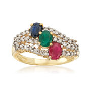 C. 1980 Vintage 1.15 ct. t.w. Multi-Stone and .40 ct. t.w. Diamond Ring in 14kt Yellow Gold. Size 7