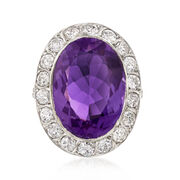 C. 1950 Vintage 10.00 Carat Amethyst and 1.55 ct. t.w. Diamond Ring in Platinum. Size 6
