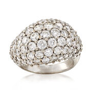 C.1970 Vintage 3.50 ct. t.w. Diamond Dome Ring in 18kt White Gold. Size 5.5