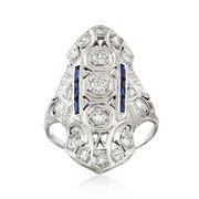 C. 1990 Vintage .60 ct. t.w. Diamond and .12 ct. t.w. Synthetic Sapphire Ring in 14kt White Gold. Size 7.5