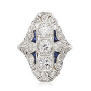 C. 1980 Vintage 2.10 ct. t.w. Diamond and Synthetic Sapphire Ring in Platinum. Size 7.75