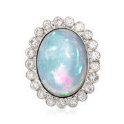 C. 1950 Oval Opal and 1.20 ct. t.w. Diamond Ring in Platinum. Size 6.25