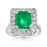 C. 1970 Vintage 4.00 Carat Emerald and 1.05 ct. t.w. Diamond Ring in Platinum. Size 6.25