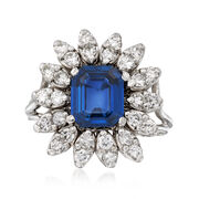C. 1970 Vintage 2.12 Carat Sapphire and .70 ct. t.w. Diamond Ring in 14kt White Gold. Size 5.75
