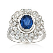 C. 1980 Vintage 1.50 Carat Sapphire and 1.00 ct. t.w. Diamond Ring in 18kt White Gold. Size 7.25