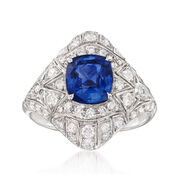 C. 2000 Vintage 2.60 Carat Sapphire and 1.26 ct. t.w. Diamond Ring in 18kt White Gold. Size 8