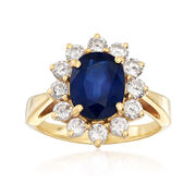 C. 1980 Vintage 2.35 Carat Sapphire and .85 ct. t.w. Diamond Ring in 18kt Yellow Gold. Size 5.5