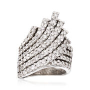 C. 1990 Vintage 1.75 ct. t.w. Diamond Multi-Row Crossover Ring in 14kt White Gold. Size 5