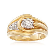 C. 1980 Vintage 1.10 ct. t.w. Diamond Buckle Ring in 18kt Yellow Gold. Size 5