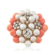 C. 1980 Vintage Cultured Pearl and .60 ct. t.w. Diamond Cluster Ring With Pink Coral in 14kt Gold. Size 6.25