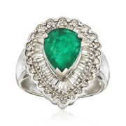 C. 1980 Vintage 2.20 Carat Emerald and 1.10 ct. t.w. Diamond Ring in 18kt White Gold. Size 7.5