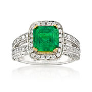 C. 2000 Vintage 2.40 Carat Emerald and 1.00 ct. t.w. Diamond Ring in 14kt Two-Tone Gold. Size 6.5