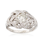 C. 1950 Vintage .90 ct. t.w. Diamond Cluster Ring in 14kt White Gold. Size 6.25