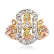 C. 1990 Vintage 1.02 ct. t.w. White and Yellow Diamond Dinner Ring in Tri-Colored Gold. Size 5.75
