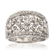 C. 1990 Vintage .25 ct. t.w. Diamond Floral Ring in 14kt White Gold. Size 7