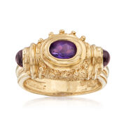 C. 1990 Vintage .50 Carat Oval Amethyst and .40 ct. t.w. Garnet Ring in 14kt Yellow Gold. Size 5.5