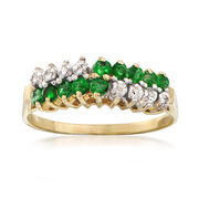 C. 1970 Vintage .50 ct. t.w. Emerald and Diamond Ring in 14kt Yellow Gold. Size 7
