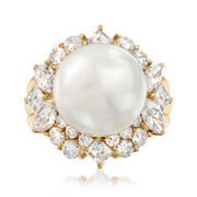 C. 1980 Vintage Cultured South Sea Pearl and 2.20 ct. t.w. Diamond Ring in 18kt Yellow Gold. Size 7
