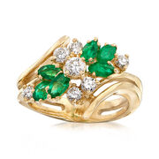 C. 1980 Vintage .50 ct. t.w. Emerald and .75 ct. t.w. Diamond Cluster Ring in 18kt Yellow Gold. Size 6