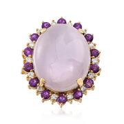 C. 1980 Vintage Oval Lavender Jade Ring With .70 ct. t.w. Amethysts and .40 ct. t.w. Diamonds in 14kt Yellow Gold. Size 5.75