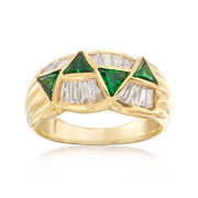 C. 1980 Vintage .80 ct. t.w. Tsavorite and .62 ct. t.w. Diamond Ring in 18kt Yellow Gold. Size 6.5