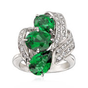 C. 1980 Vintage 4.72 ct. t.w. Green Tourmaline and .36 ct. t.w. Diamond Ring in Platinum. Size 5.75