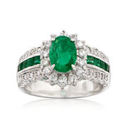 C. 1980 Vintage 1.61 ct. t.w. Emerald and .50 ct. t.w. Diamond Ring in Platinum. Size 6.5