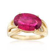 C. 1990 Vintage 5.80 Carat Pink Tourmaline Horizontal Ring With Diamond Accents in 18kt Yellow Gold. Size 7