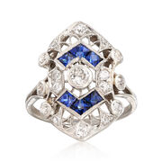 C. 1950 Vintage .50 ct. t.w. Sapphire and .45 ct. t.w. Diamond Shield Ring in Platinum. Size 5.25