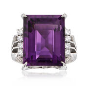 C. 1960 Vintage 10.30 Carat Amethyst and .23 ct. t.w. Diamond Dinner Ring in Platinum. Size 6.75