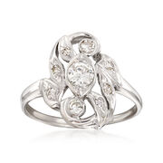 C. 1950 Vintage .55 ct. t.w. Diamond Cluster Ring in 14kt White Gold. Size 8