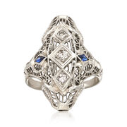 C. 1950 Vintage .18 ct. t.w. Diamond Filigree Ring With Sapphire Accents in 18kt White Gold. Size 6