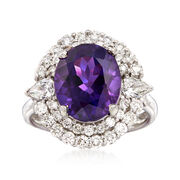 C. 1980 Vintage 5.30 Carat Amethyst and 1.40 ct. t.w. Diamond Ring in 18kt White Gold. Size 7.25