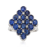 C. 1980 Vintage 5.40 ct. t.w. Sapphire and .20 ct. t.w. Diamond Cluster Ring in 18kt White Gold. Size 8