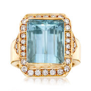 C. 1980 Vintage 9.40 Carat Emerald-Cut Aquamarine and .68 ct. t.w. Diamond Ring in 18kt Yellow Gold. Size 6.5
