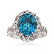 C. 1990 Vintage 4.05 Carat Blue Topaz and .55 ct. t.w. Diamond Ring in 14kt White Gold. Size 7