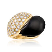 C. 1980 Vintage 1.45 ct. t.w. Diamond and Black Onyx Ring in 18kt Yellow Gold. Size 6.5