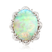C. 1960 Vintage Opal Cabochon and .27 ct. t.w. Diamond Scallop Ring in Platinum. Size 6