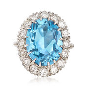 C. 1960 Vintage 9.00 Carat Synthetic Blue Spinel and 2.00 ct. t.w. Diamond Ring in 14kt White Gold. Size 5