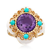 C. 1980 Vintage White Onyx and 3.00 Carat Amethyst Ring With Reconstructed Turquoise in 14kt Yellow Gold. Size 8