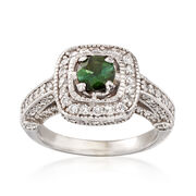 C. 2000 Vintage 1.30 ct. t.w. Diamond and .45 Carat Tourmaline Ring in 14kt White Gold. Size 5.5