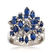 C. 1970 Vintage 3.00 ct. t.w. Sapphire Cluster Ring With Diamond Accents in 18kt White Gold. Size 8.5